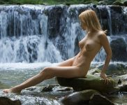 Lia naked by a waterfall for Femjoy