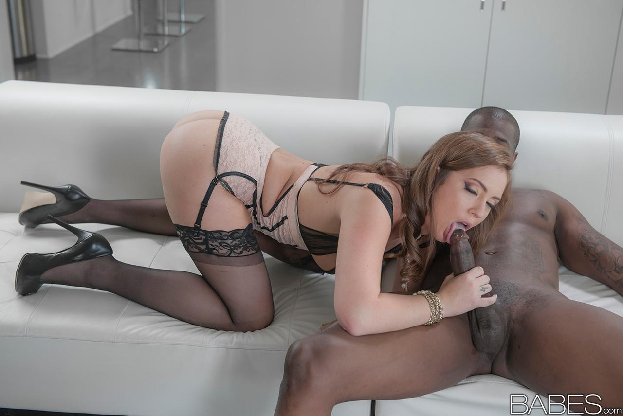 Blowjob big black stockings cock