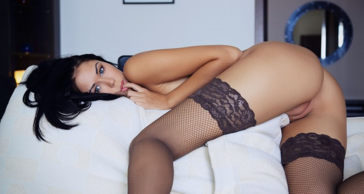 Macy B looking sexy in thigh high stockings