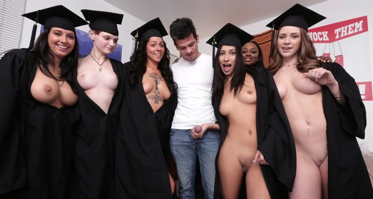 Anything goes after these dorm chicks graduate