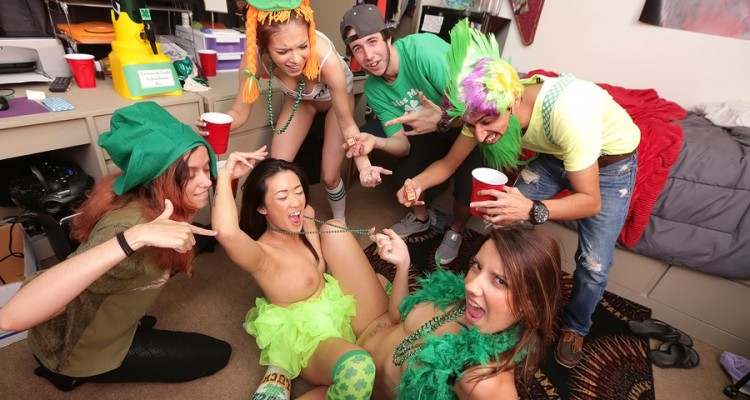 Dorm room babes celebrating Saint Paddy's Day