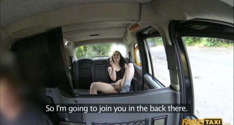 Alessa masturbates in the back of her taxi cab