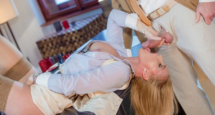 Kathia Nobili blows a coworker