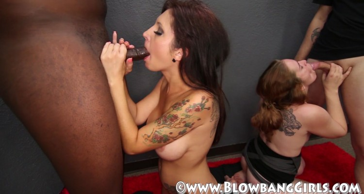 Lexi gagging on a black cock
