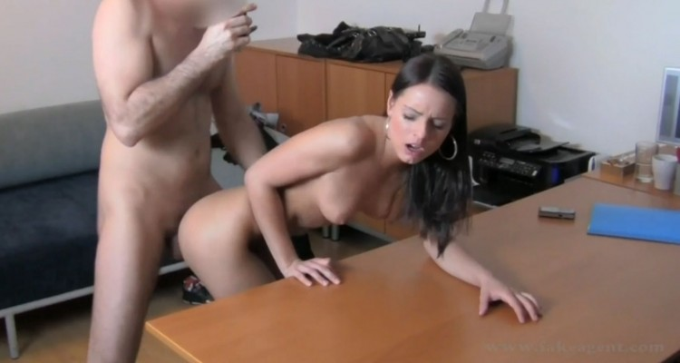 Carie gets bent over a desk and fucked