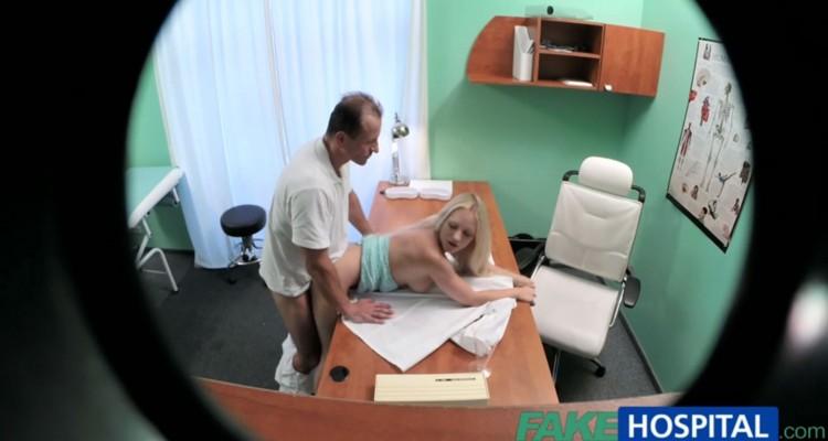 Blonde gets bent over her doctor's desk