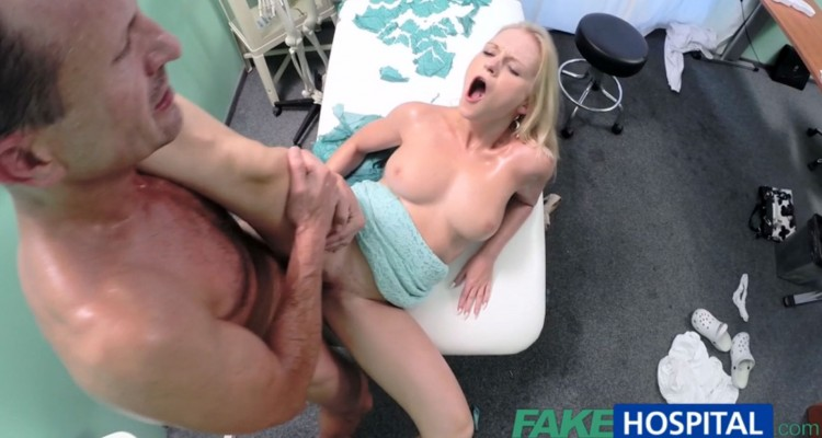 Busty blonde gets her pussy infiltrated by her doctor's hard cock