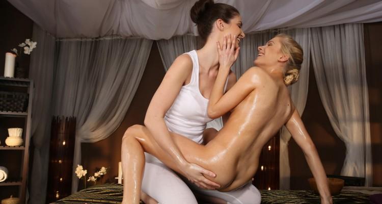 Charlotta and Vanessa enjoy an intimate massage