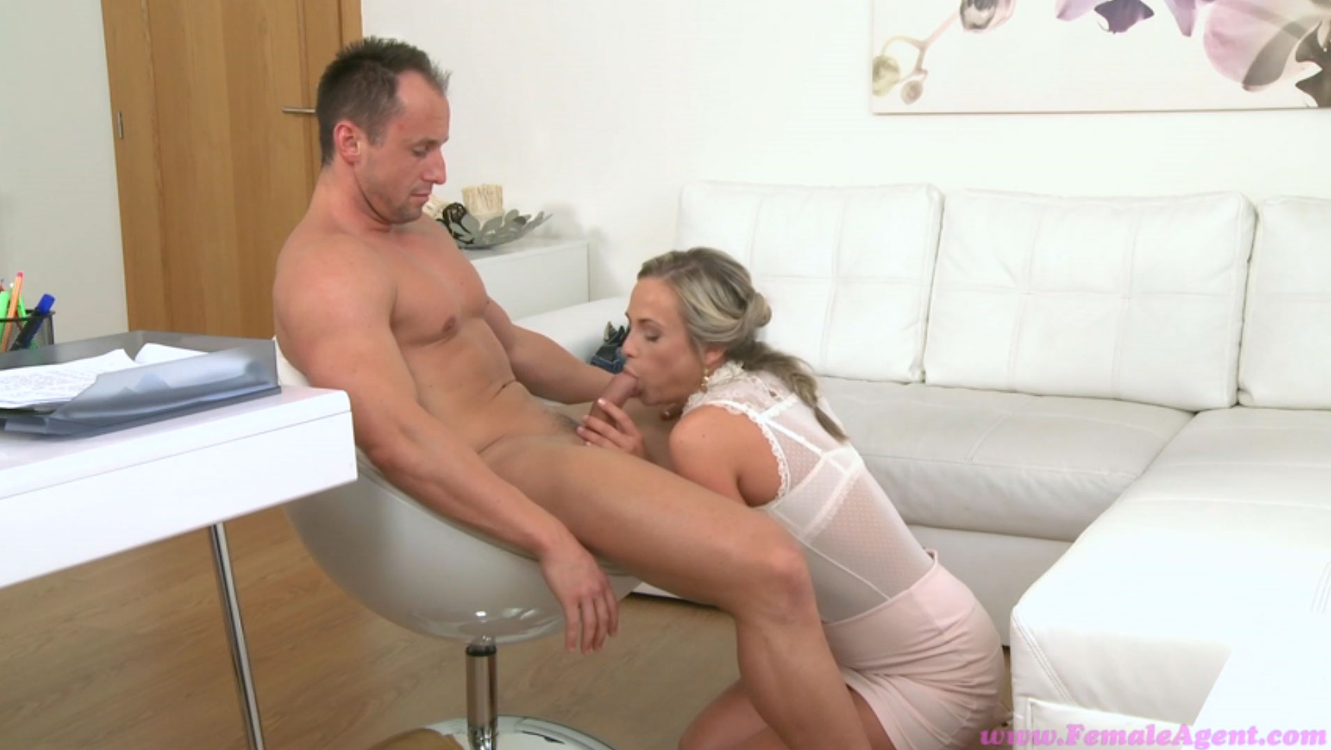 Blonde client eats busty casting agents pussy 10
