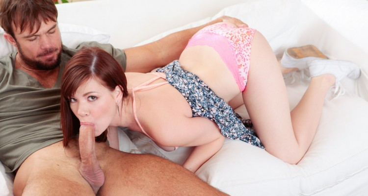 Petite babe gives head