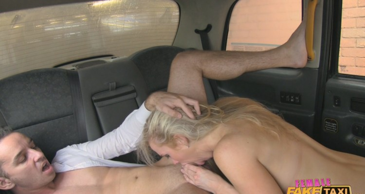 Rebecca gagging on her passenger's cock