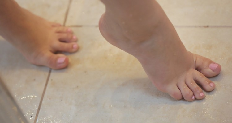 Close-up of Nekane's feet