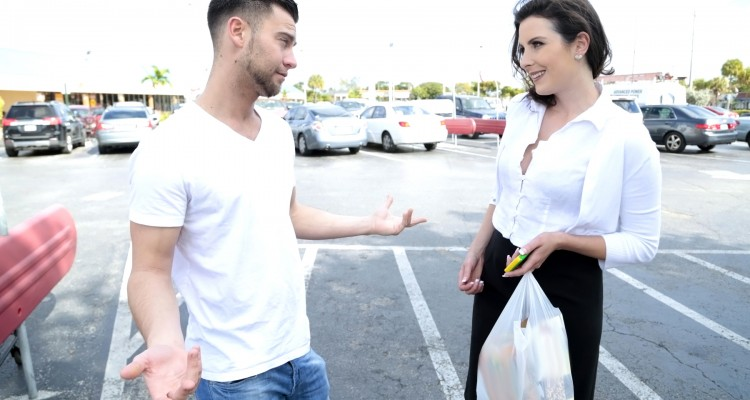 Helena Price gets picked up in the parking lot for sex