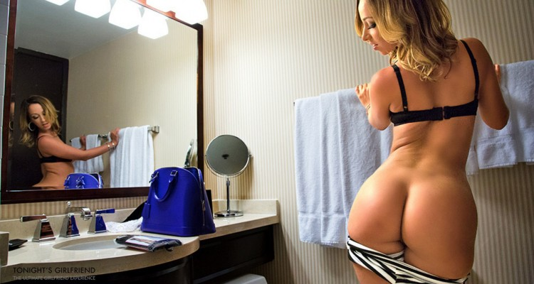 Jada Stevens checks out her big ass in the mirror
