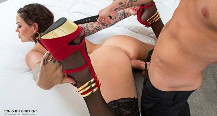 Karmen Karma grabs her heels while getting fucked
