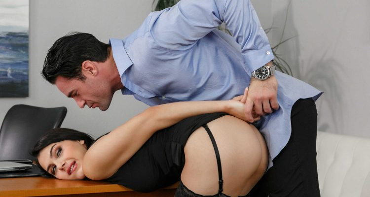 bending his submissive co-worker over her desk
